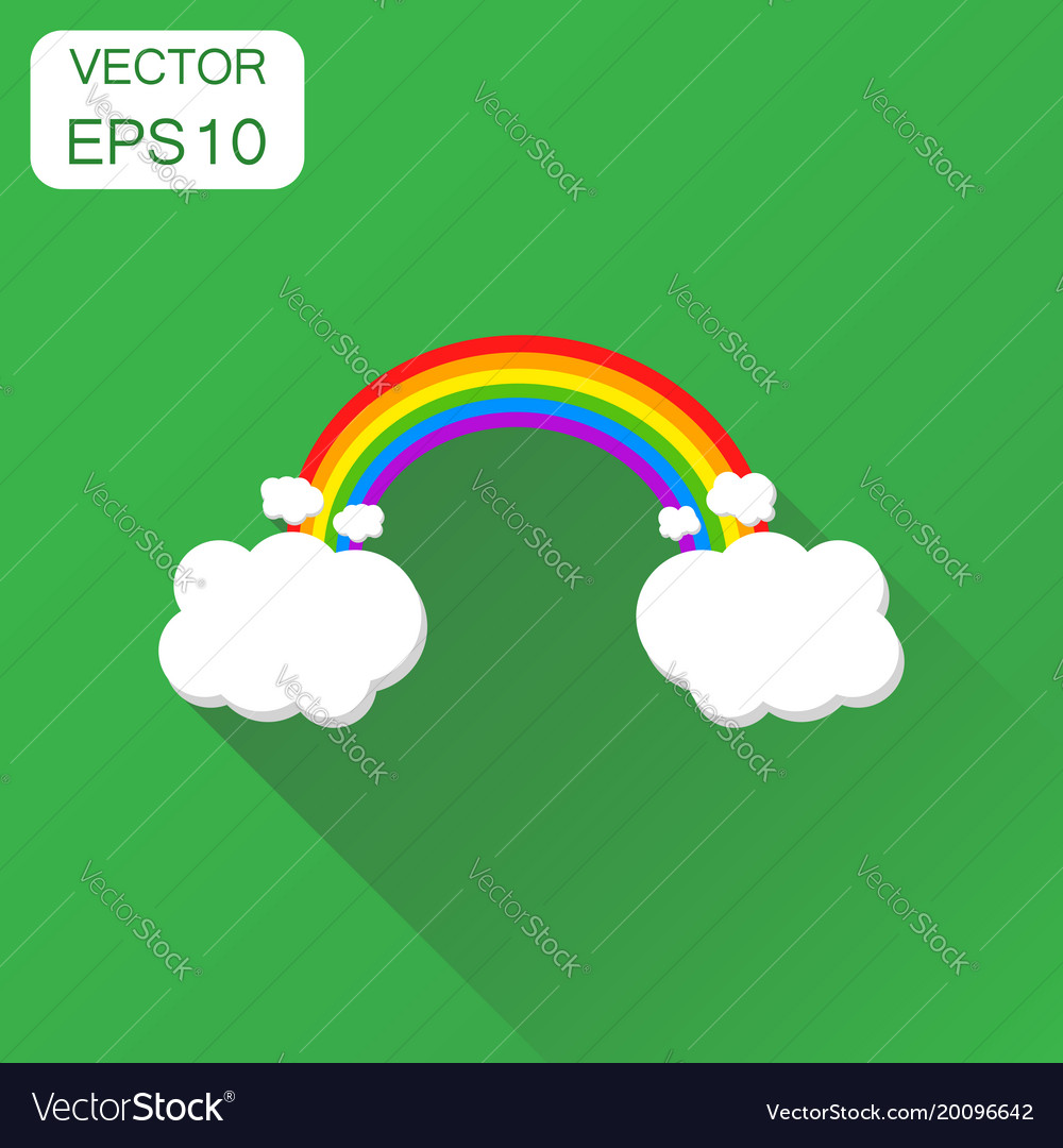 Color rainbow with clouds icon business concept