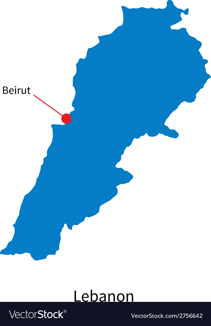 Detailed map of Lebanon and capital city Beirut