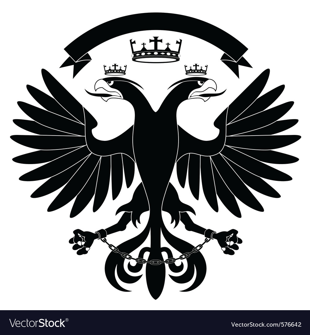 Doubleheaded heraldic eagle with crown