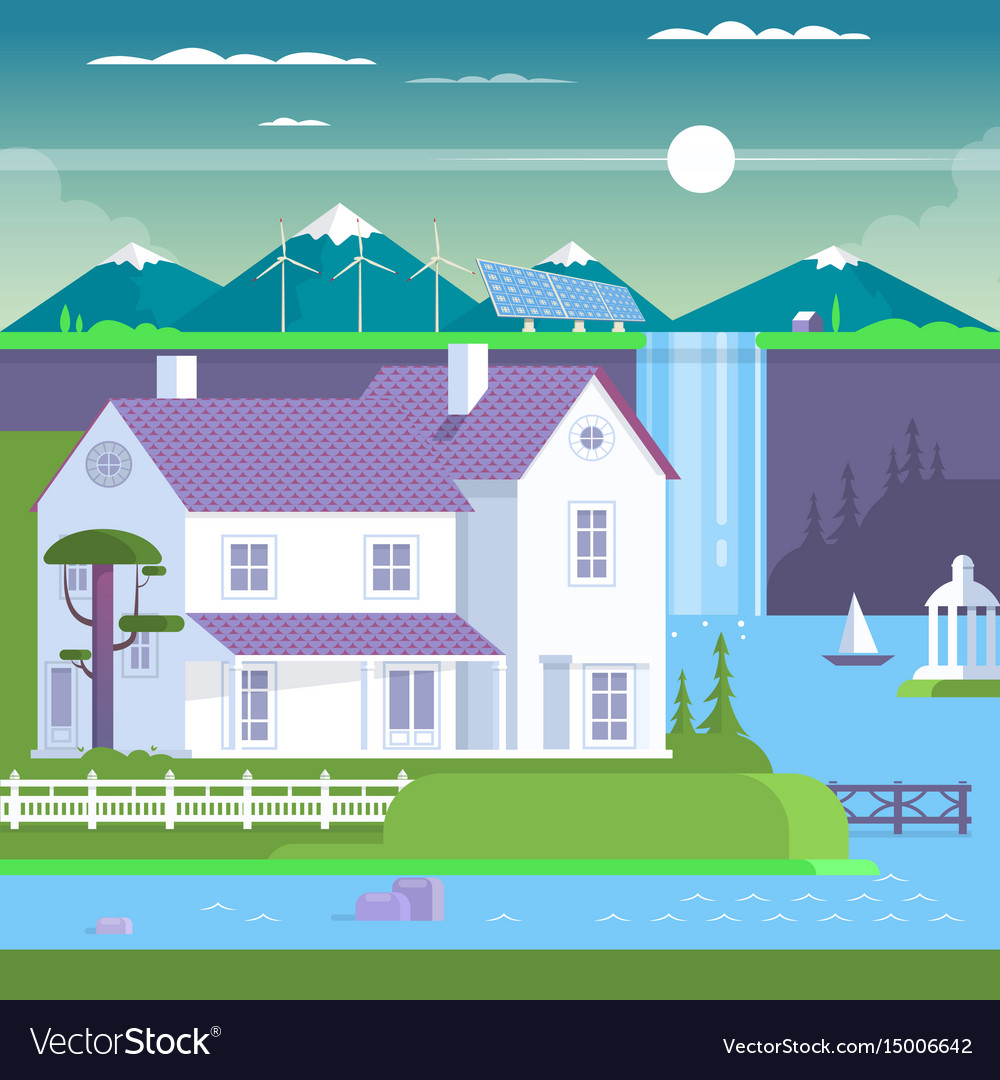 Modern prefabricated family house vector image