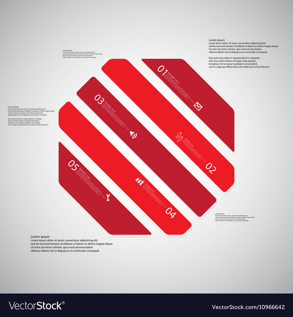 octagon template consists of five red parts on vector image