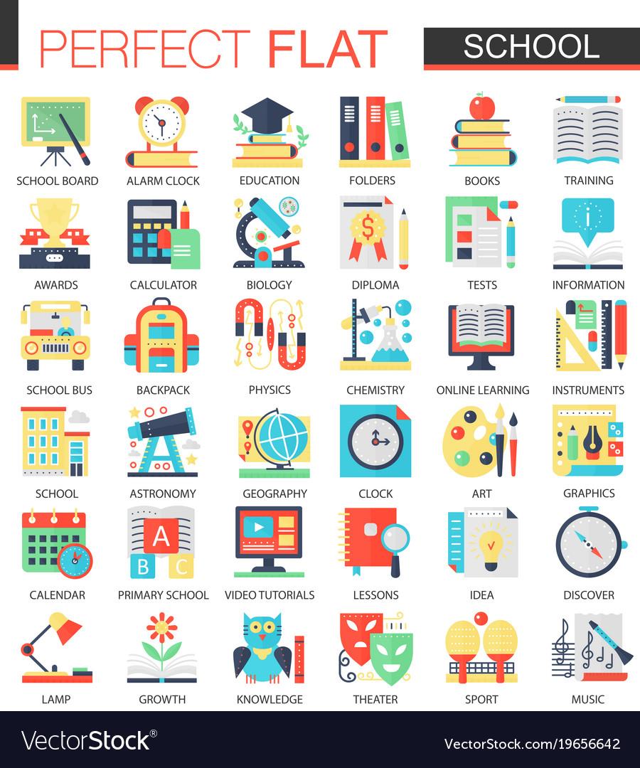 School edication complex flat icon concept