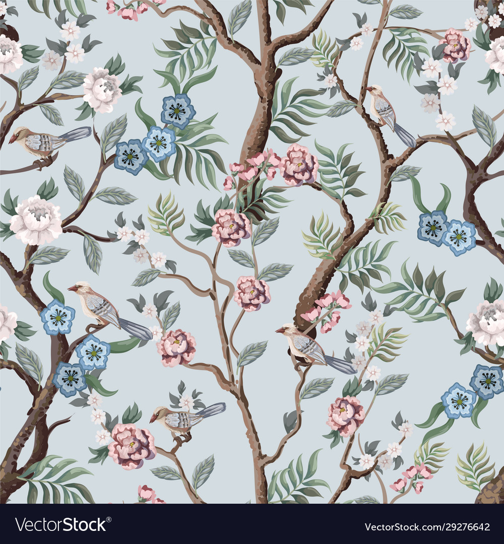 Seamless pattern in chinoiserie style with peonies