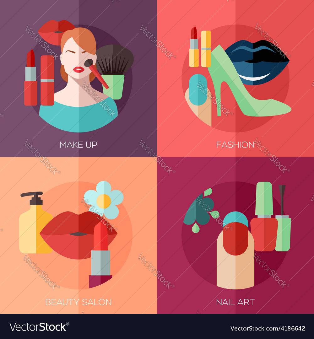 Флэт дизайн картинки салон красоты