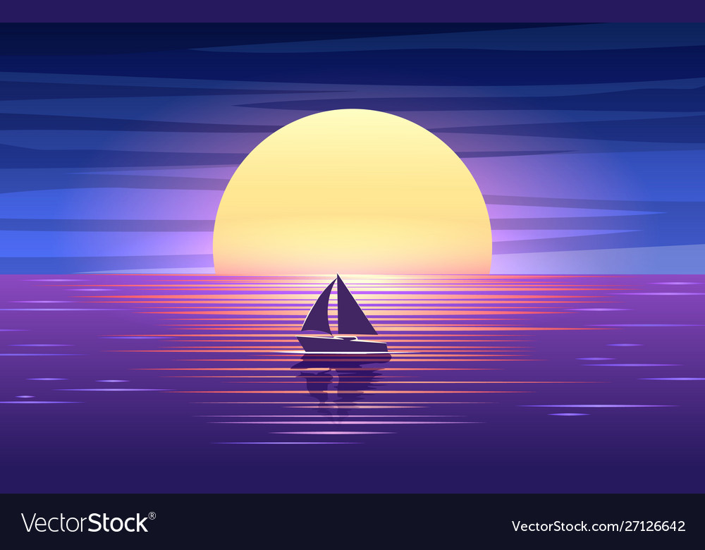 Sunset sea and boat