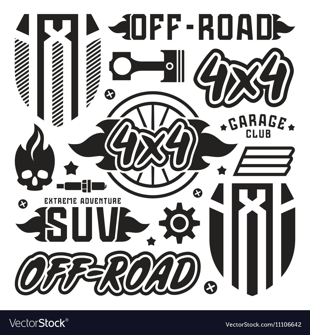 Vinyl stickers and badges for off road car vector image