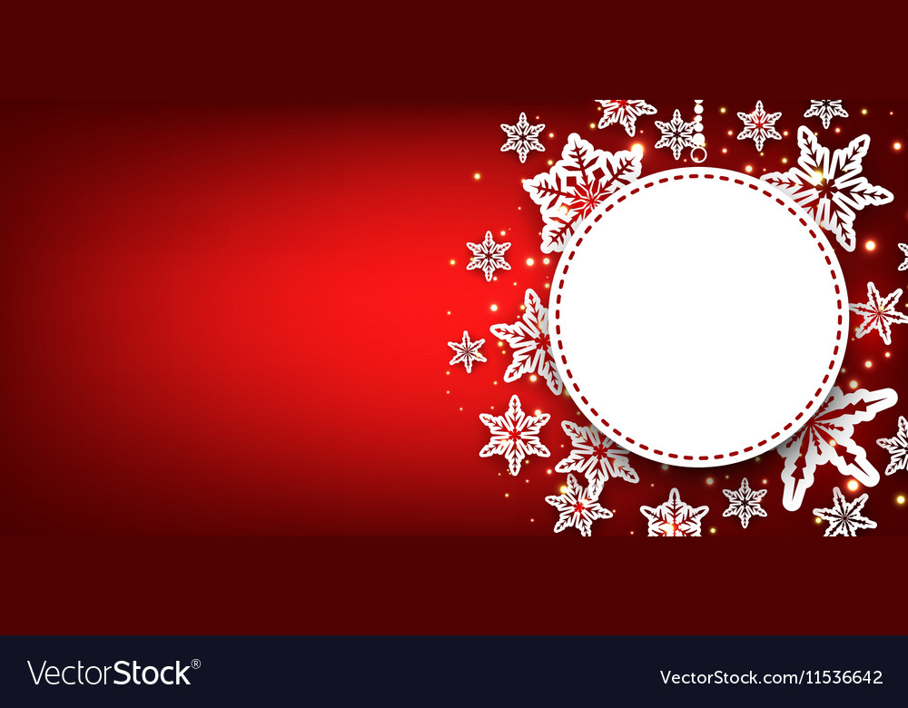 Winter round banner with snowflakes