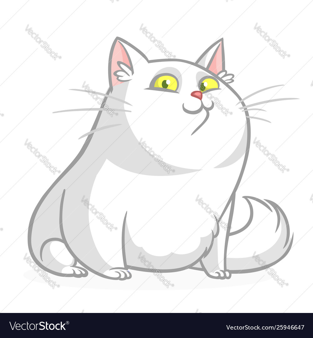 Cartoon Pretty White Fat Cat Sitting Royalty Free Vector