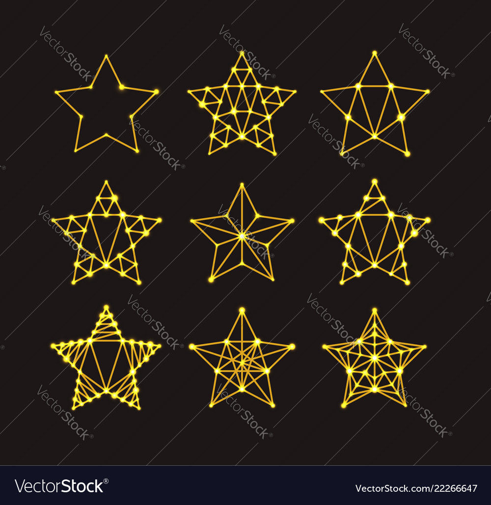 Golden geometric stars in art deco style