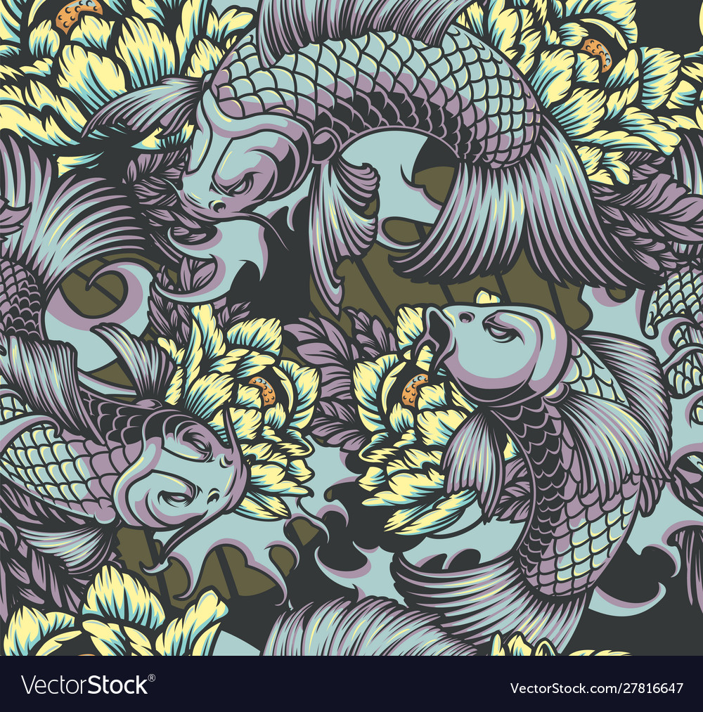 Japanese style seamless color pattern with koi