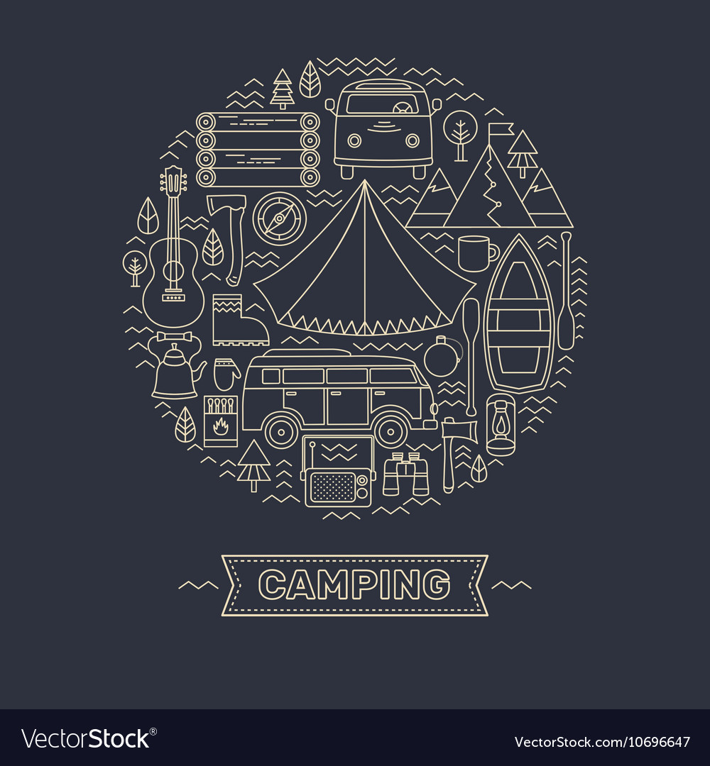 Line icons set of camping