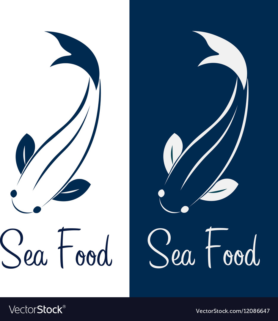 Logo fish sea food Ocean vector image