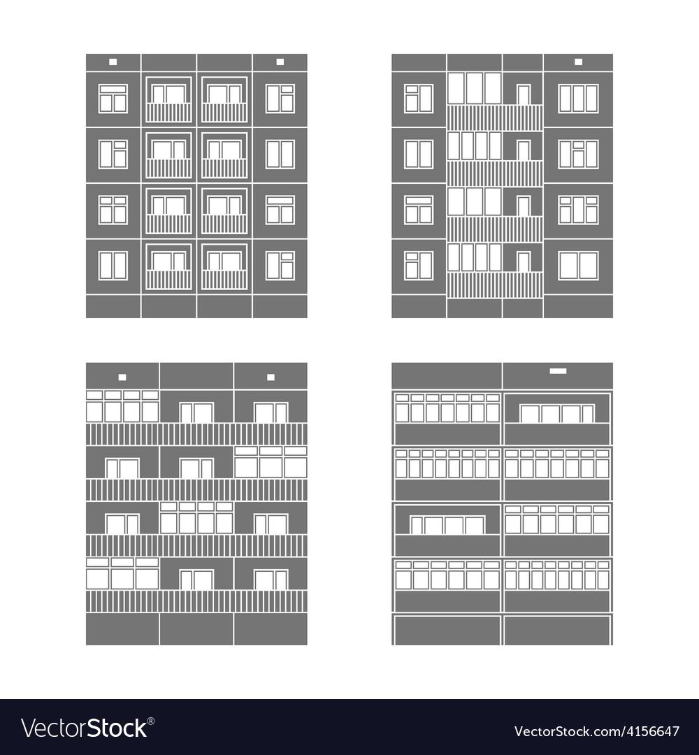 Panel houses set2 vector image