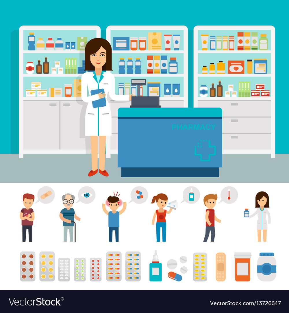 Pharmacy infographic elements and flat banner