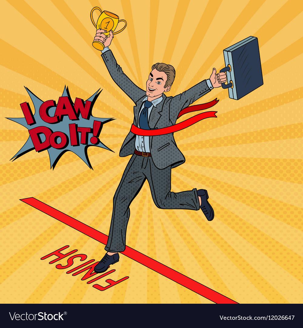 Pop Art Businessman with Golden Winner Cup vector image