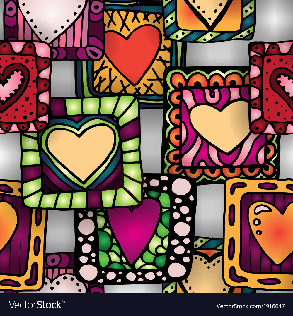 Seamless pattern of original doodle hearts in