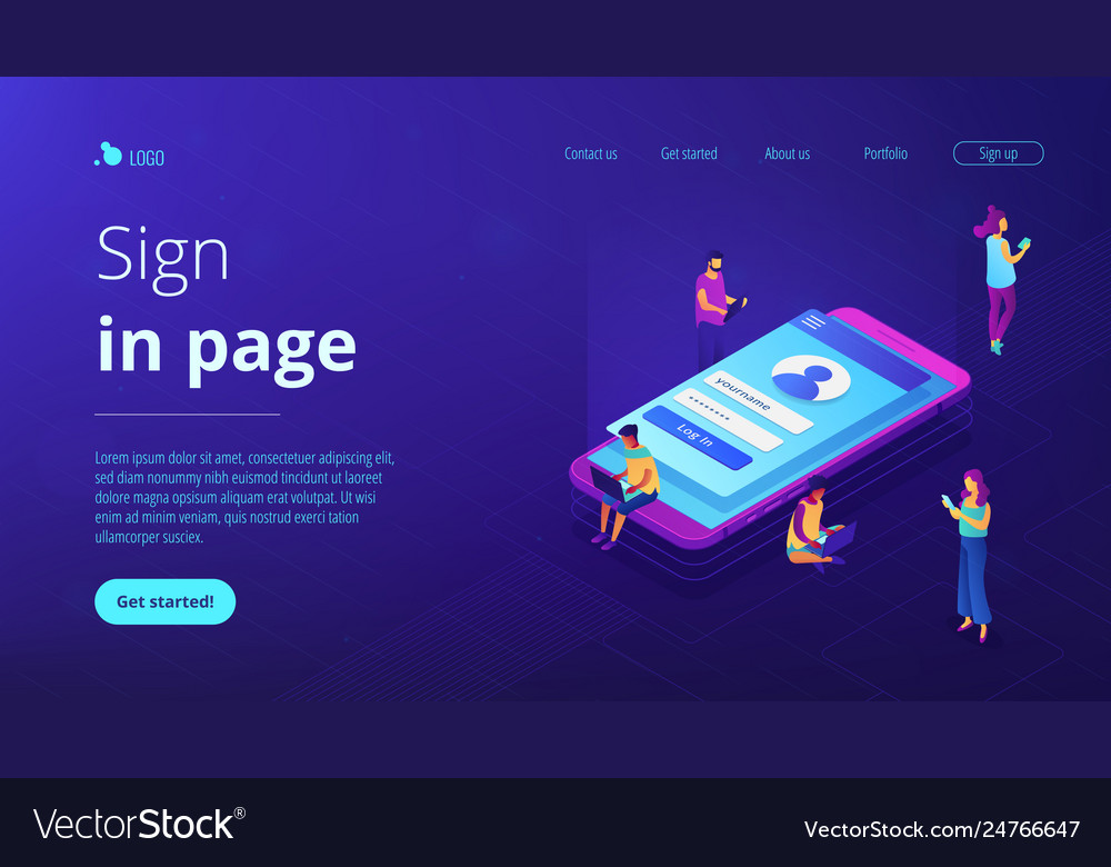 Sign in page isometric 3d landing page