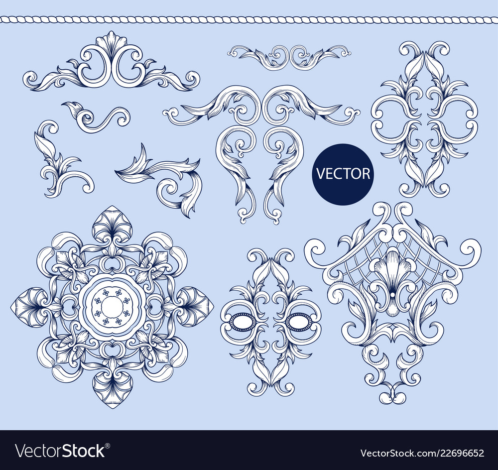 Blue baroque elements isolated