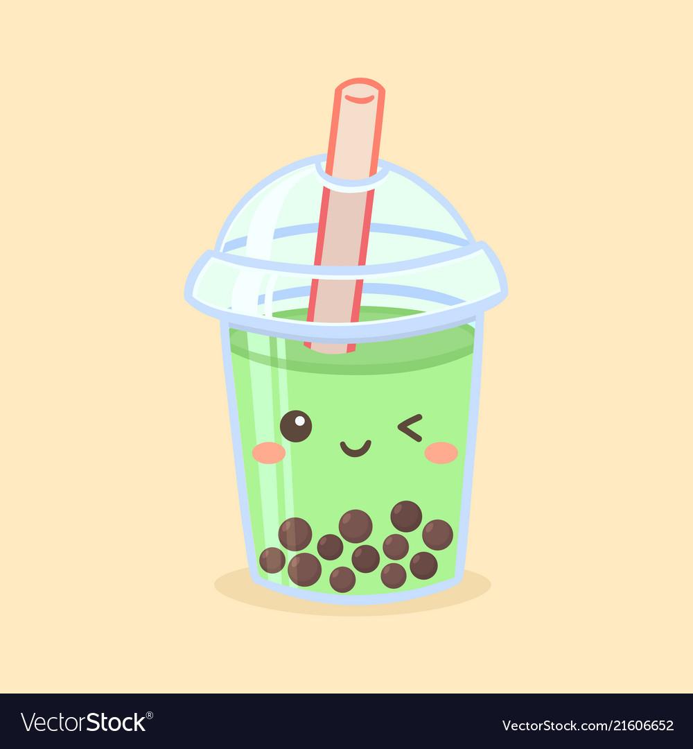 Cute boba bubble green tea drink glass cartoon