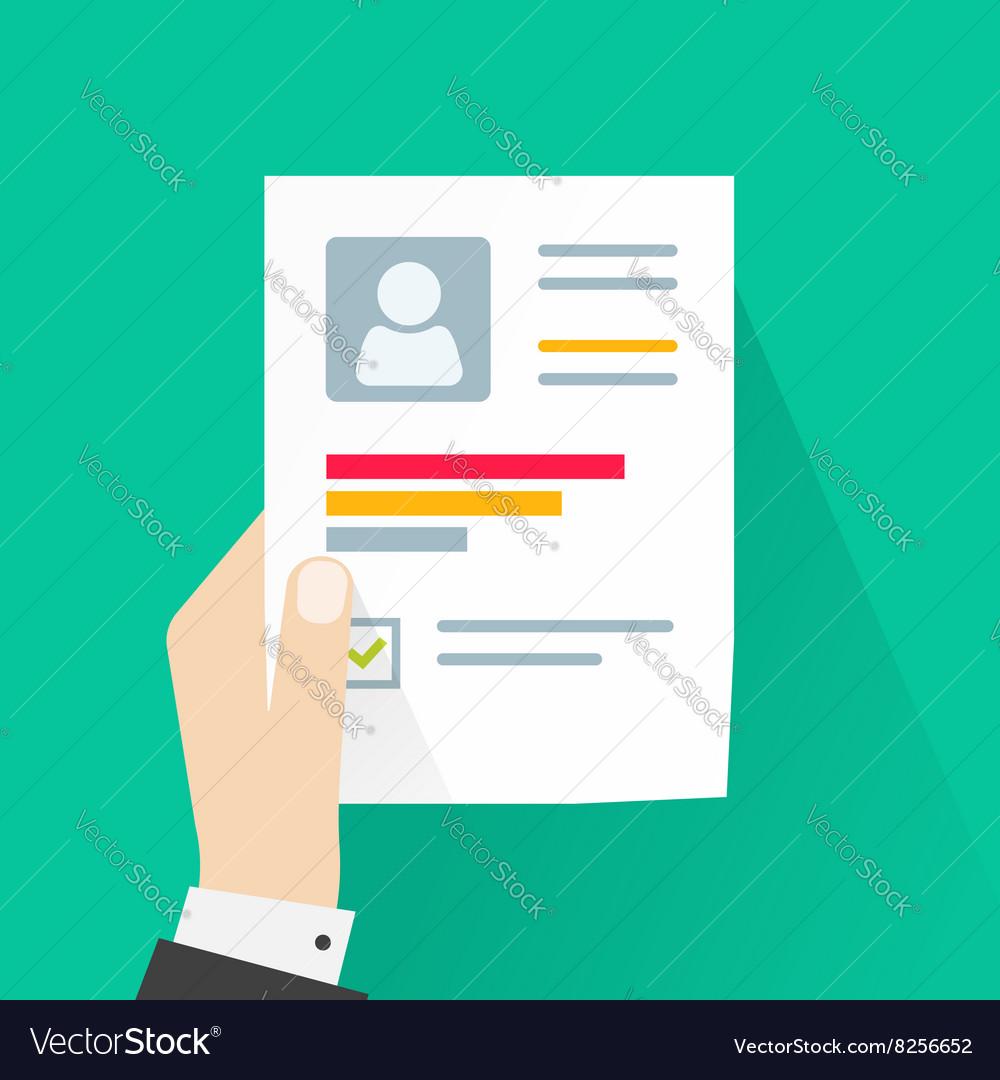 CV application paper sheet business man hand