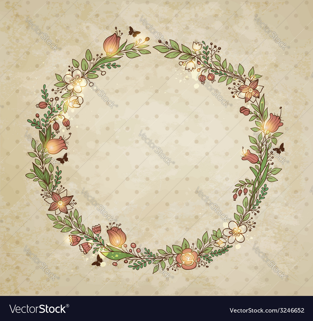 Decorative hand drawn wreath of flowers
