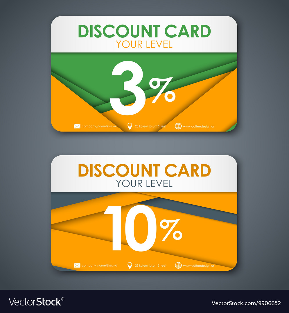 Discount cards in style of material design vector image