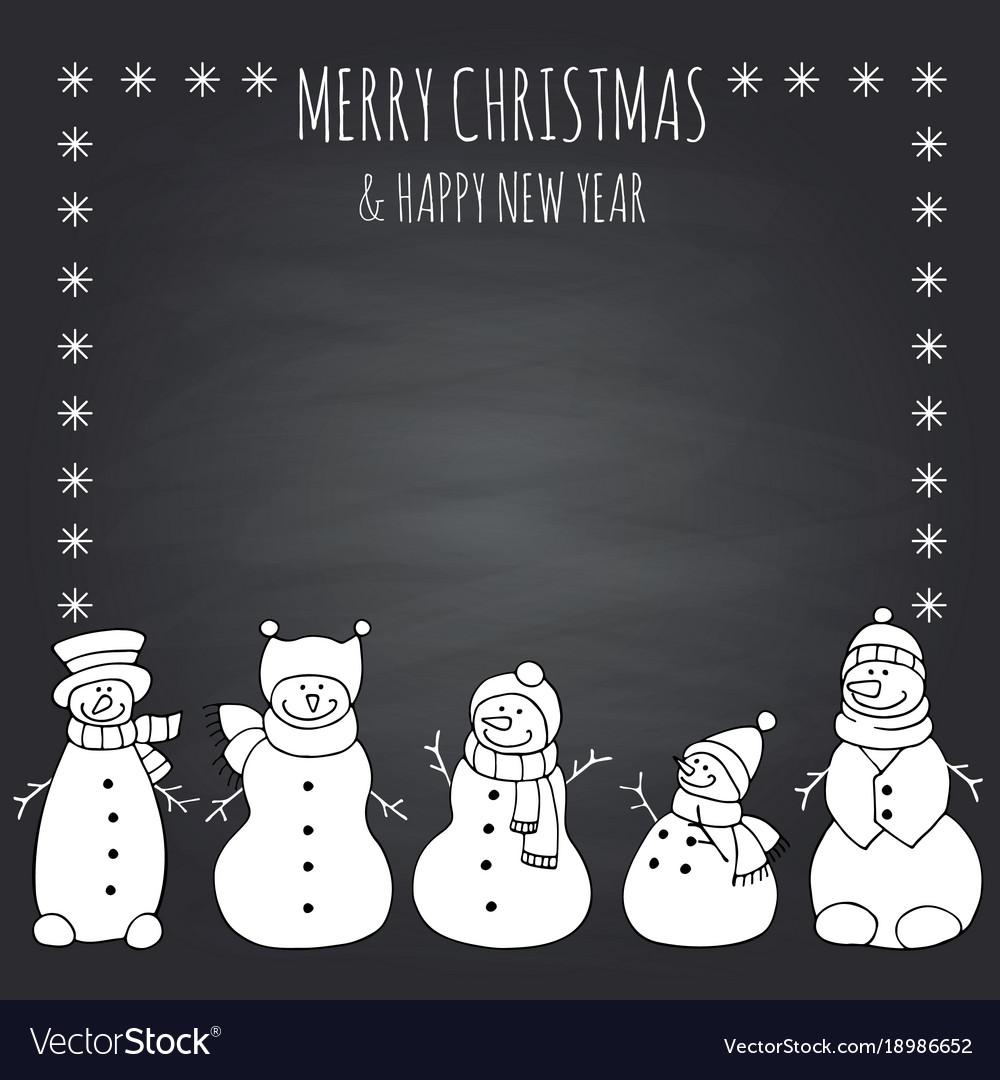 Funny snowmen on a black
