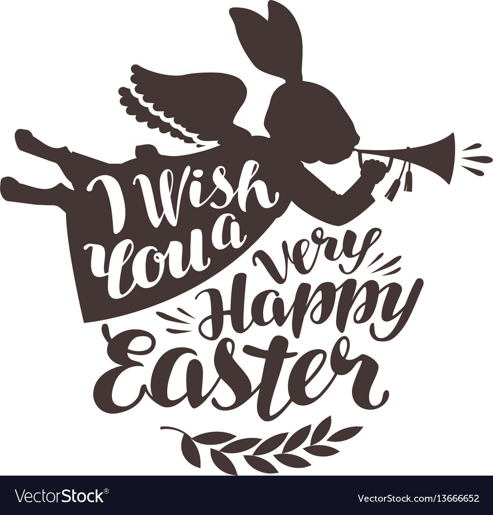 Happy easter greeting card rabbit bunny blowing