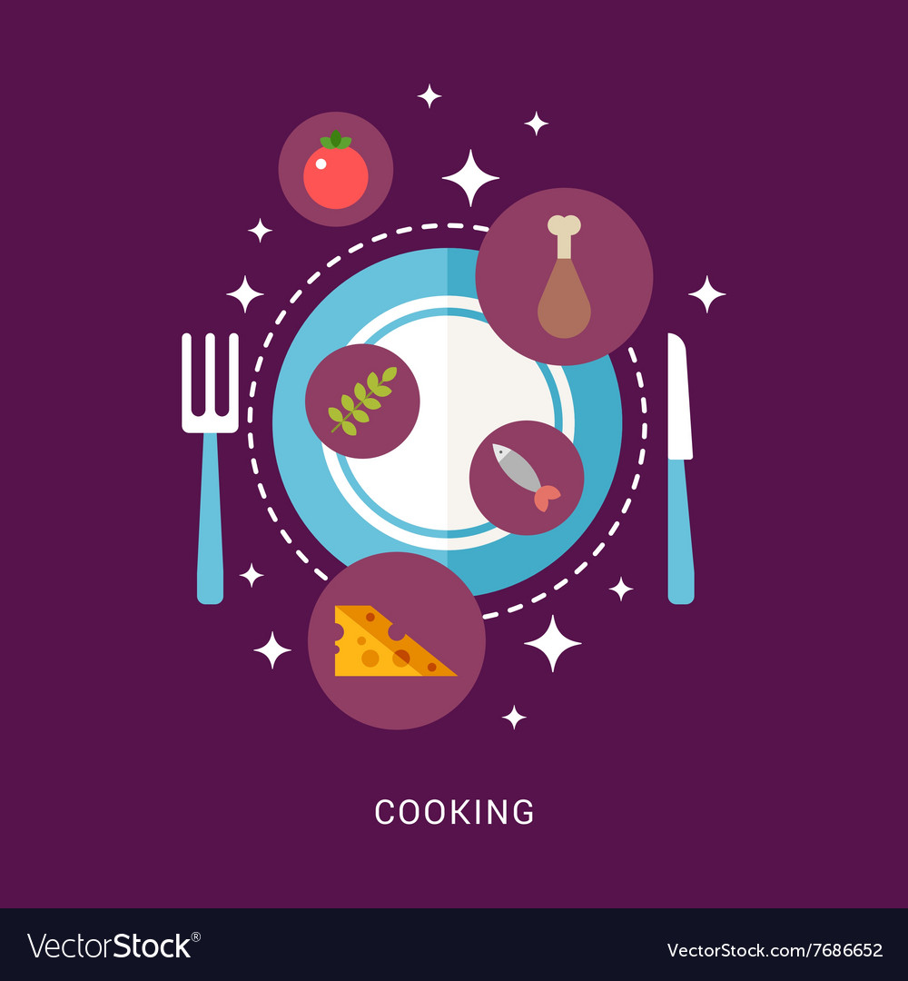 In Flat Design Style Food and Cooking Icons on the
