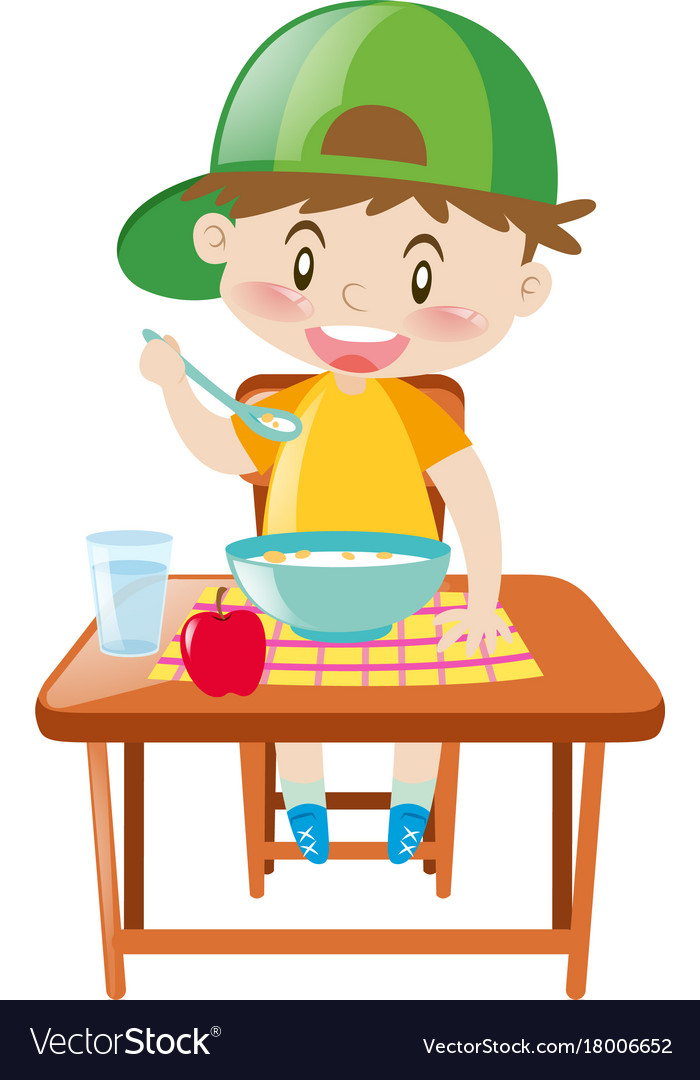 little boy at dining table eating breakfast vector image