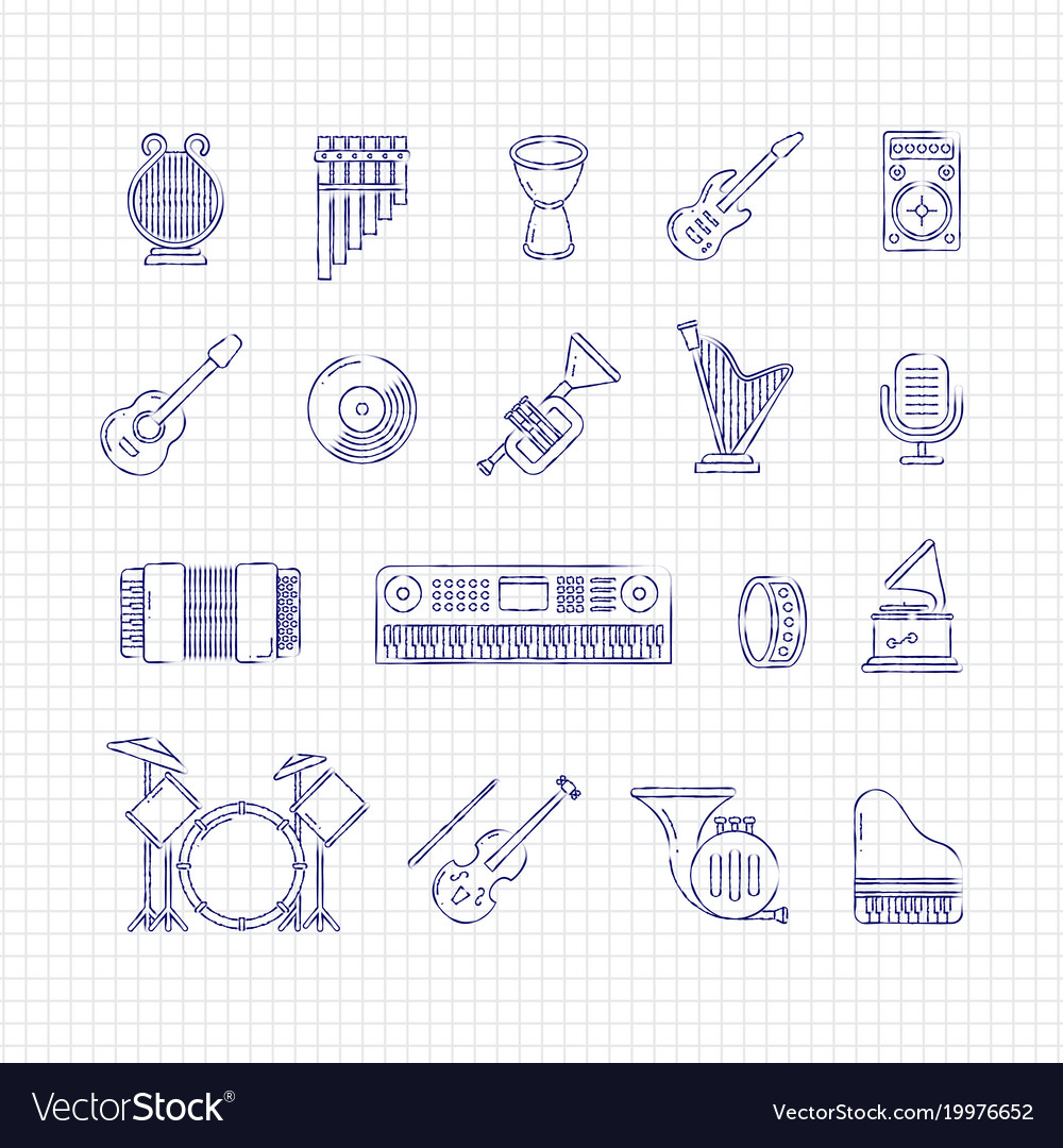 Music concert instruments thin line icons
