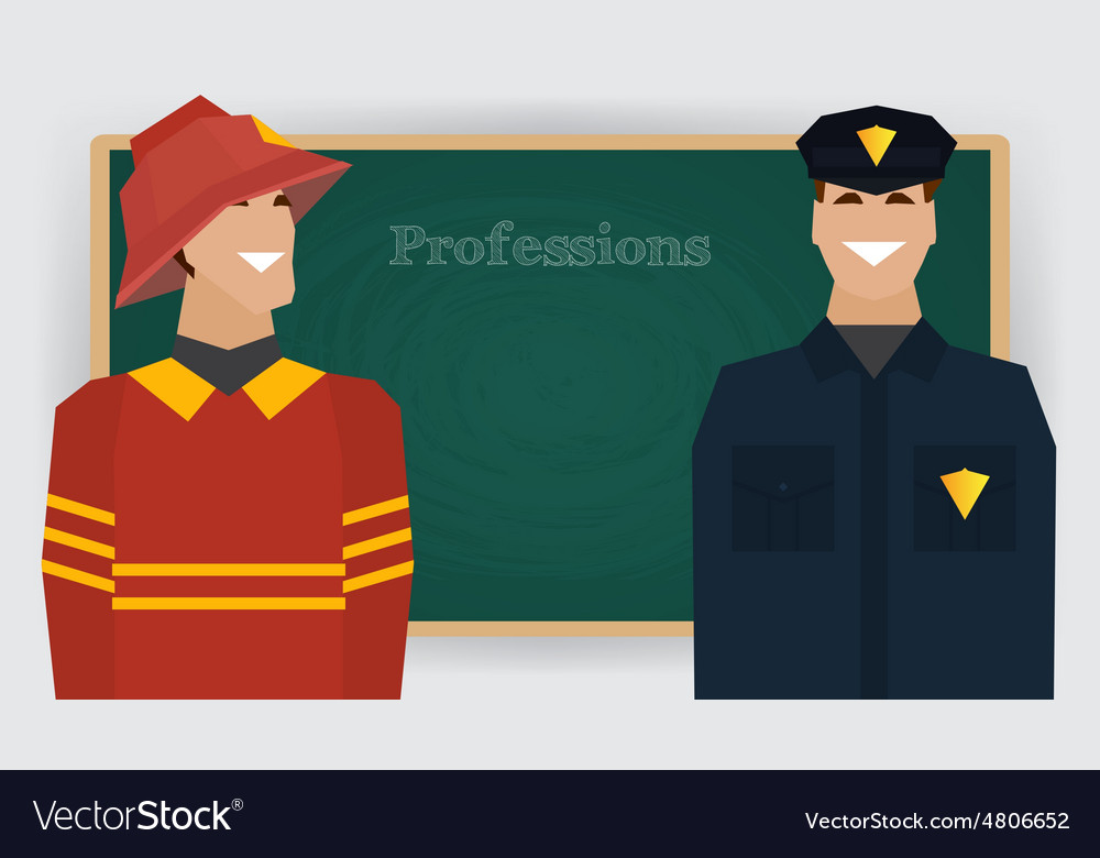 Occupation set firefighter and policeman