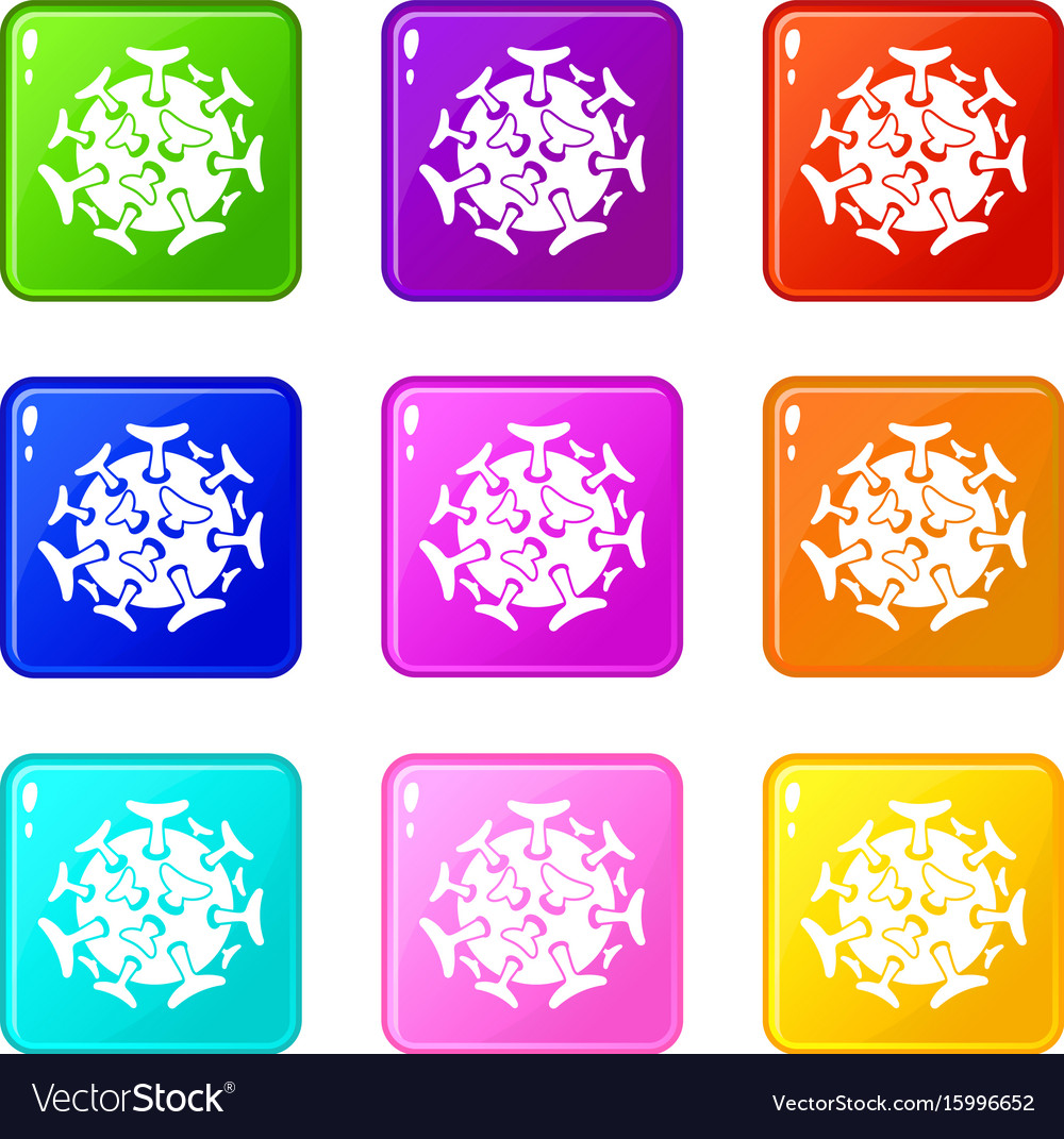 Round viral bacteria set 9 vector image