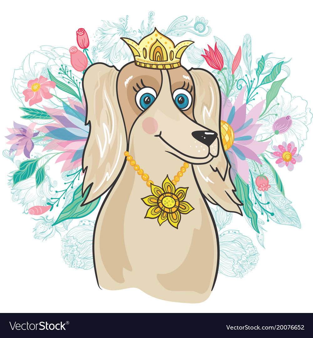 Royal dog with flower bouquet Royalty Free Vector Image