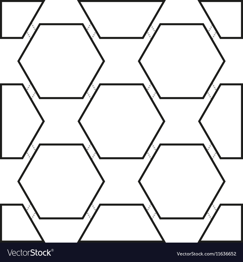 Seamless pattern with black hexagons