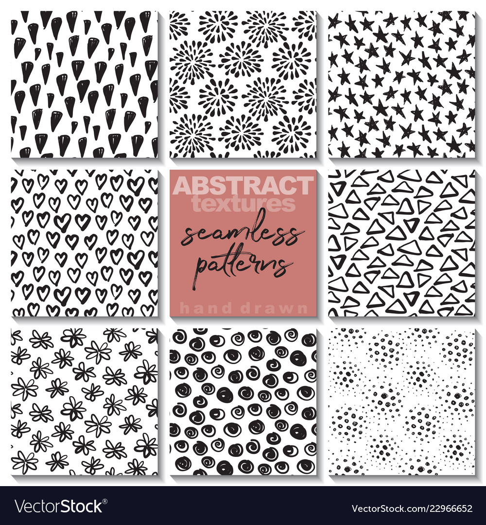 Set eight hand drawn ink seamless patterns