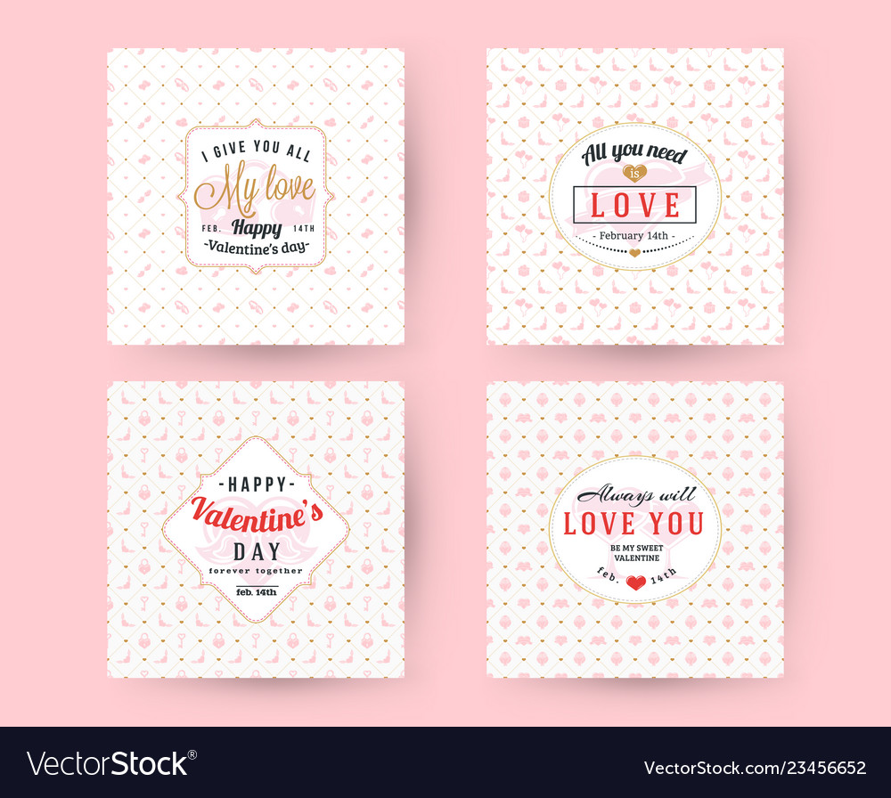 Set happy valentines day typography greeting vector