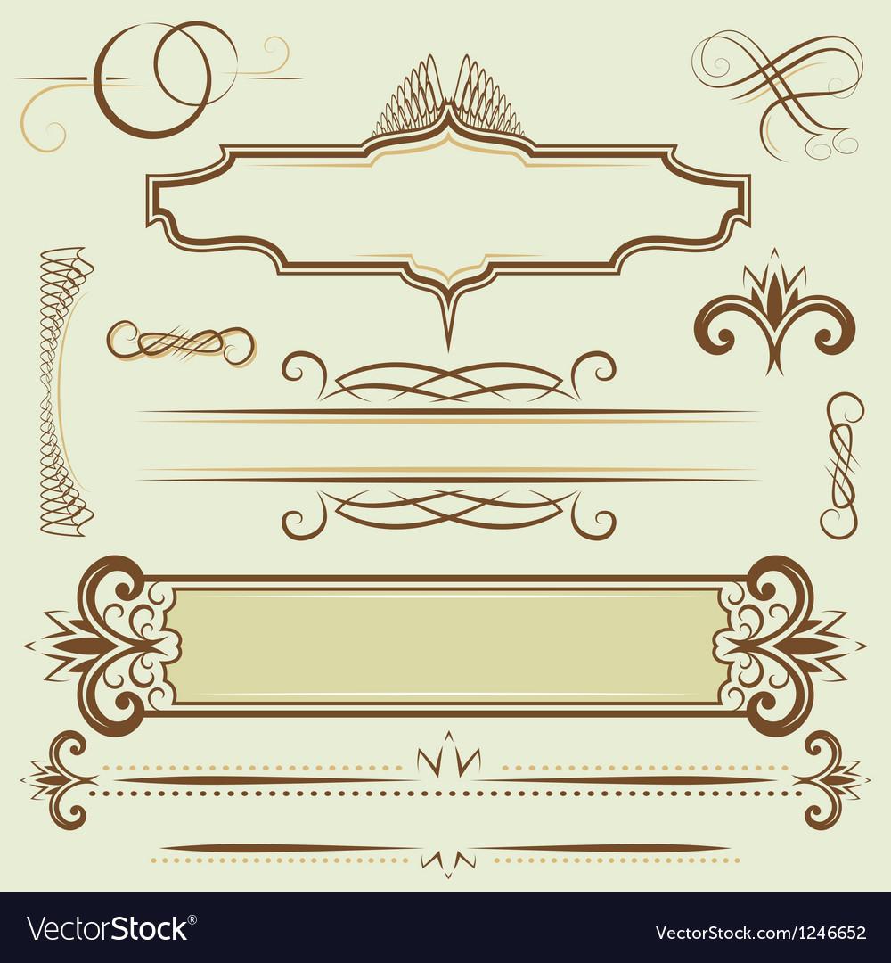 Set monograms and borders vector image