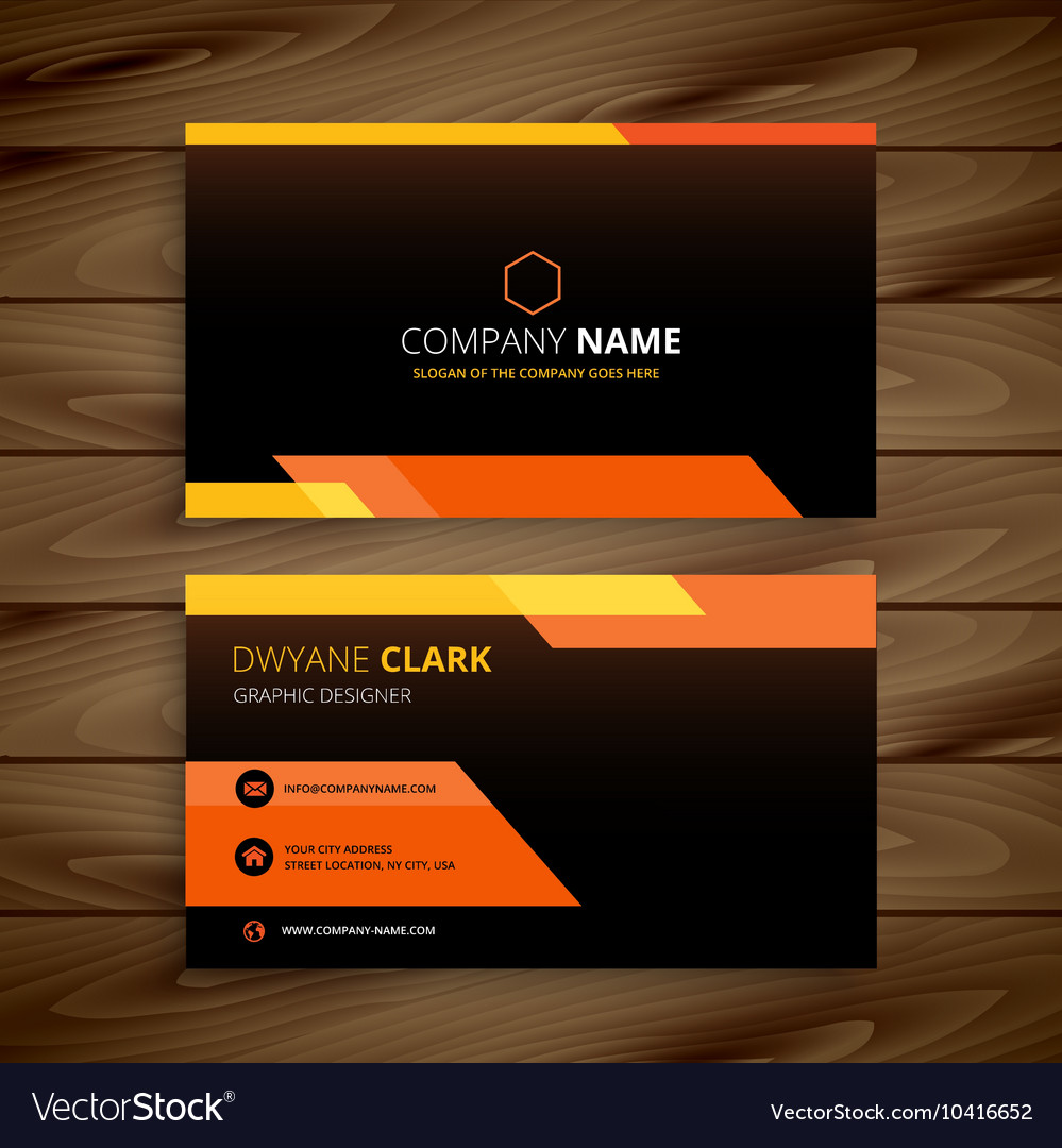 Yellow Black Business Card Vector Image