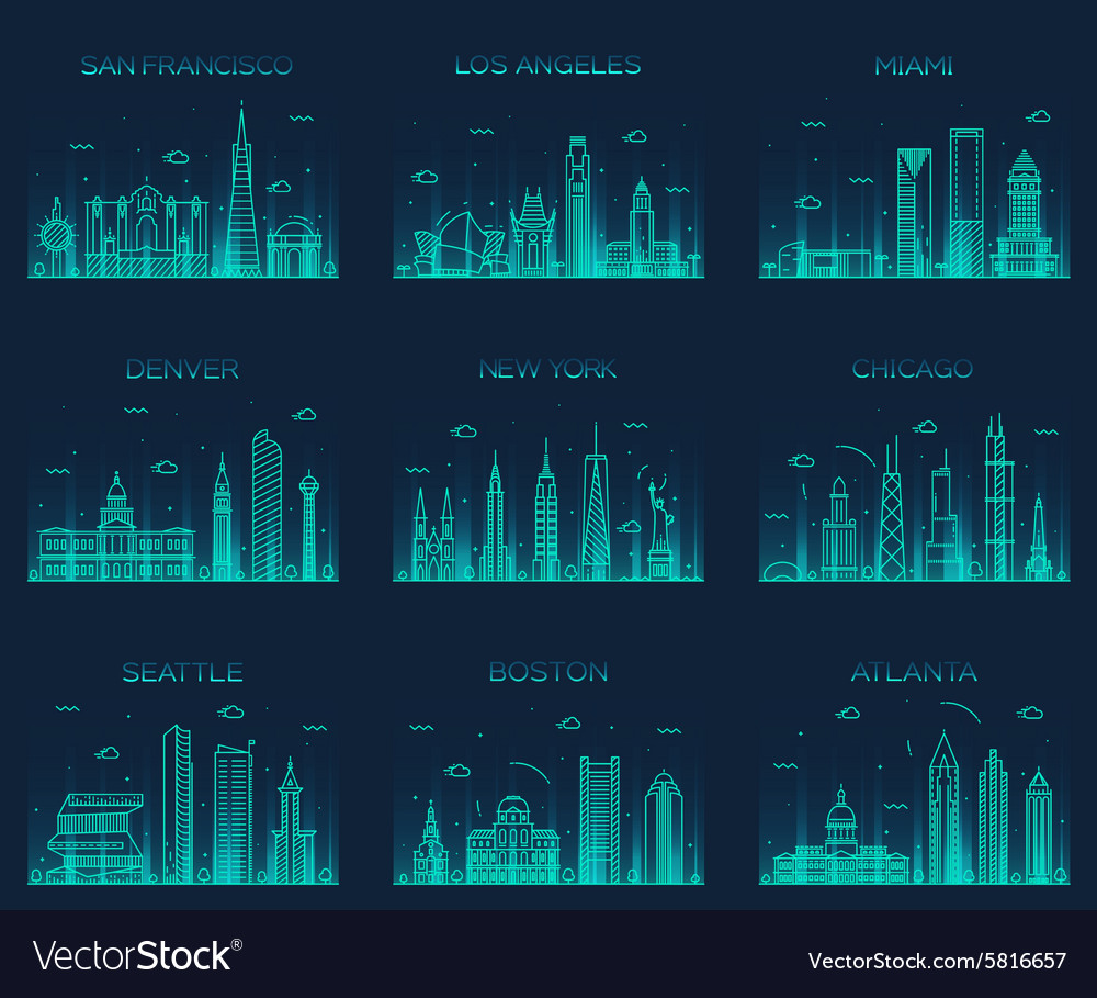American cities skyline trendy linear