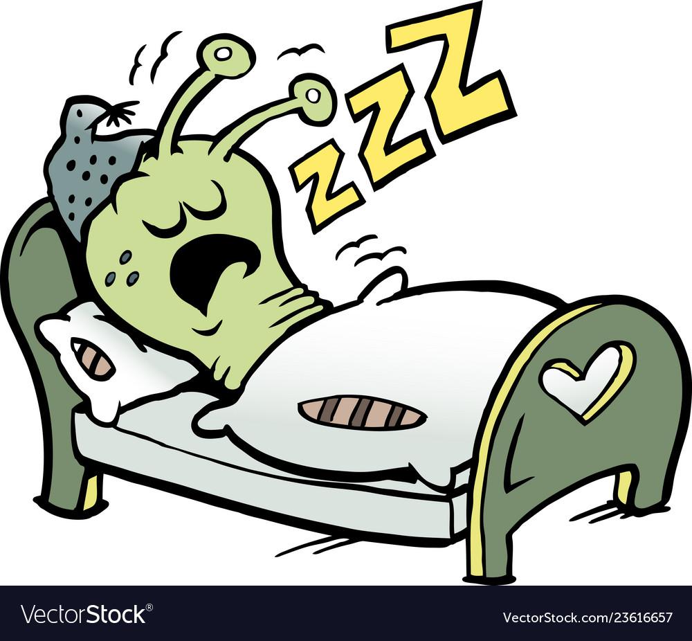 Cartoon of an little worm that sleeps