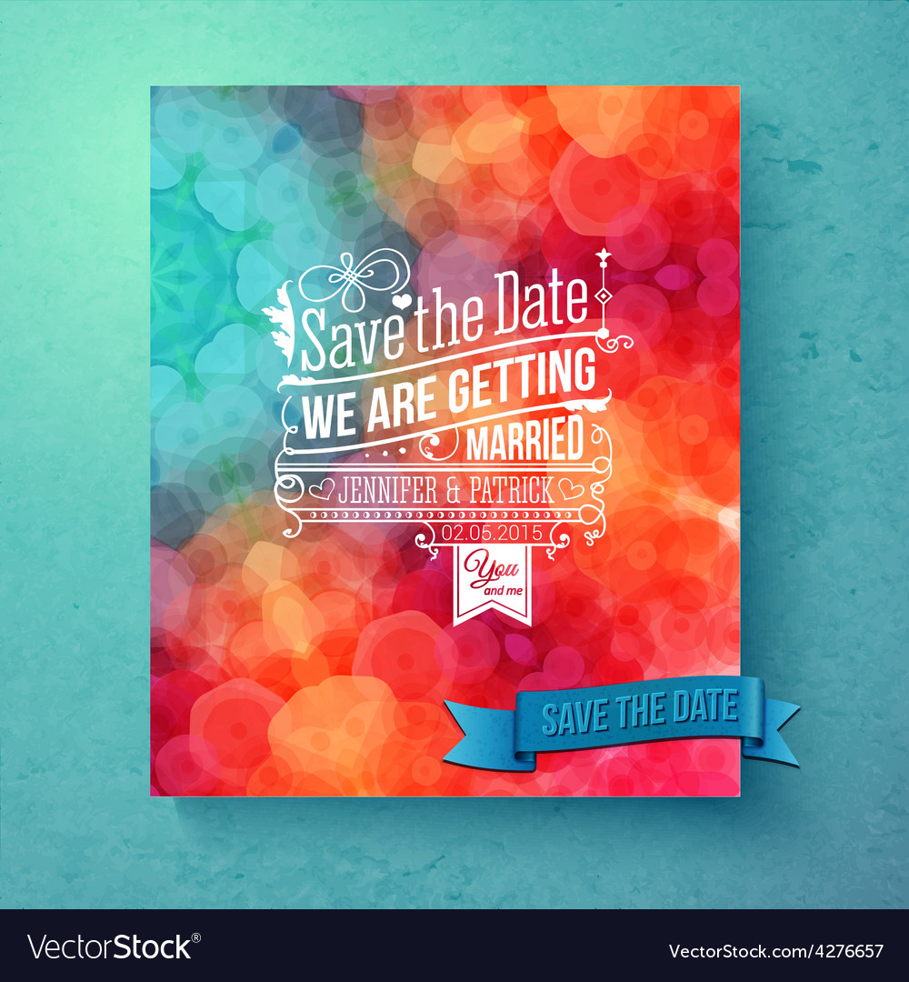 Dynamic vibrant Save The Date wedding invitation Vector Image