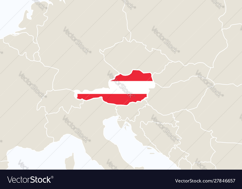 Map Of Europe With Austria.Europe With Highlighted Austria Map Royalty Free Vector
