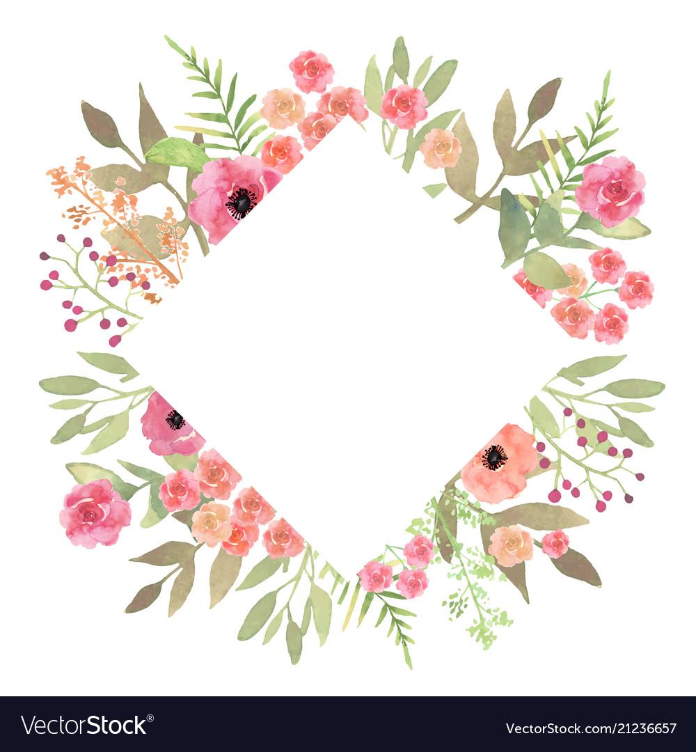 Flowers frame rhombus roses card on white