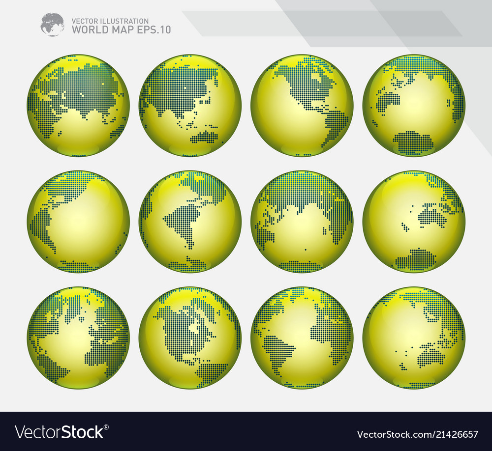 Green dotted earth globes sets