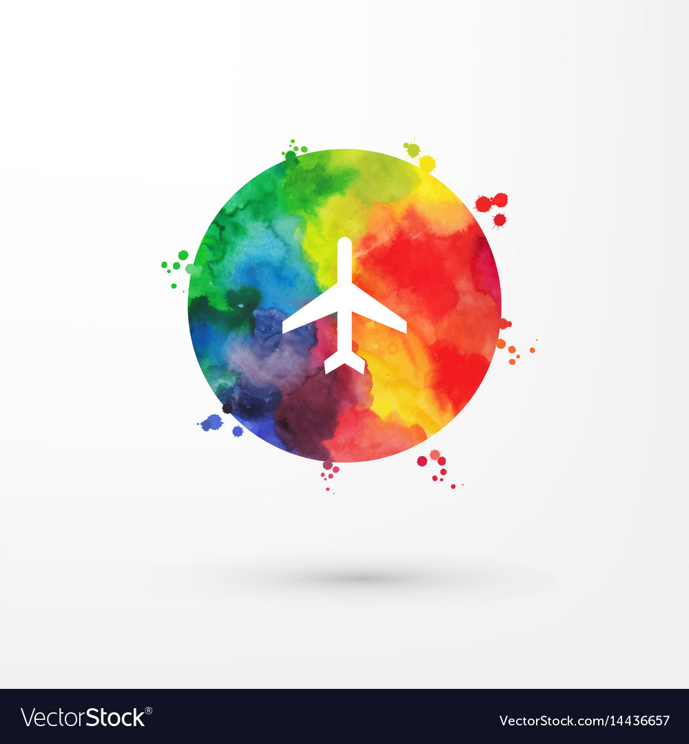 Rainbow grungy watercolor air plane icon