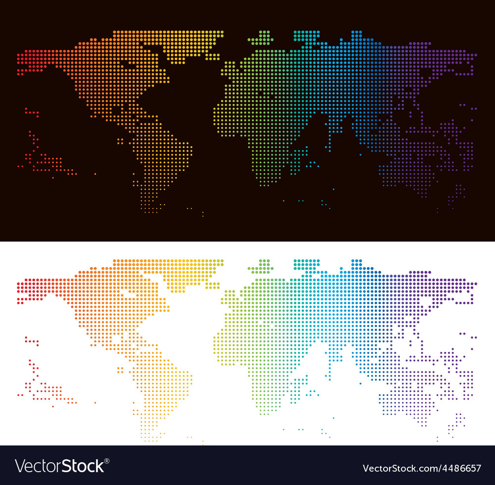 Rainbow halftone world map royalty free vector image rainbow halftone world map vector image gumiabroncs Image collections