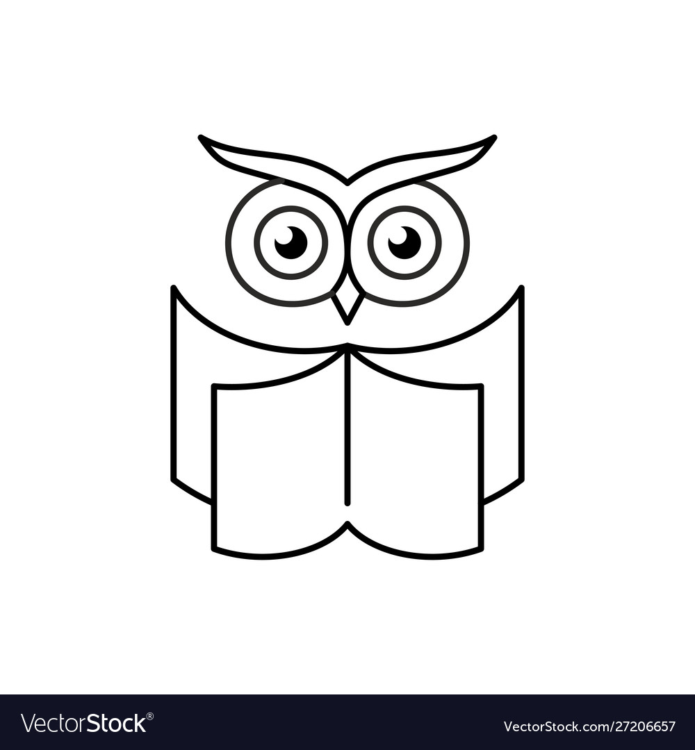 Smart owl with open book education logo reading