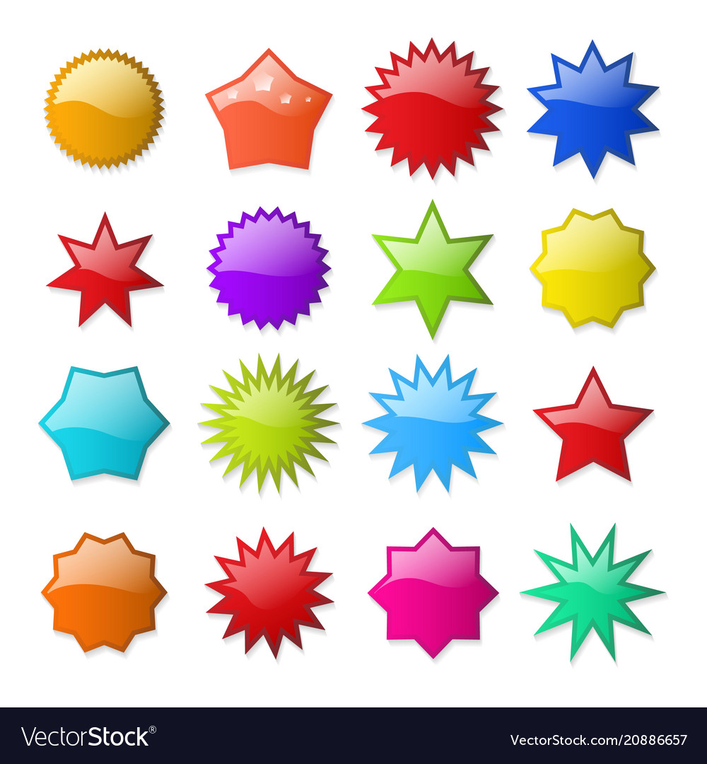 starburst shape stickers royalty free vector image