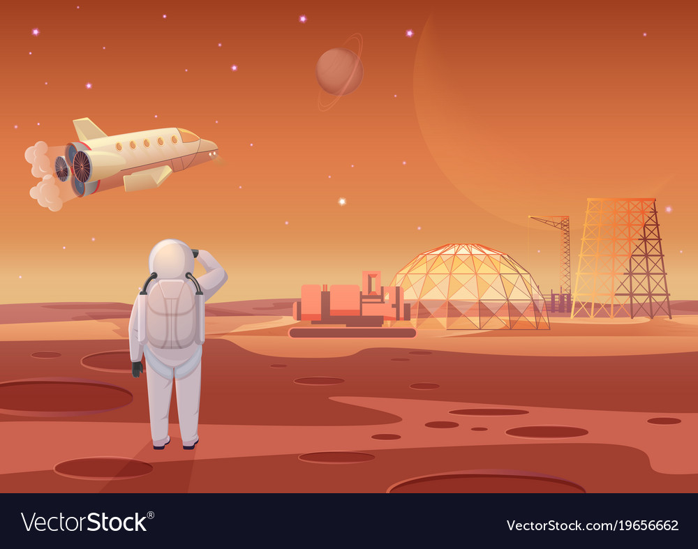 Astronaut standing at mars vector image